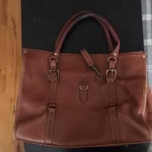 Large Camel Livenger pebbled leather tote bag